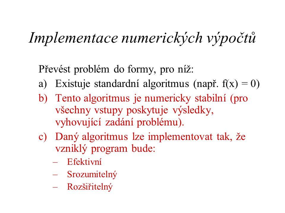 Implementace numerických výpočtů