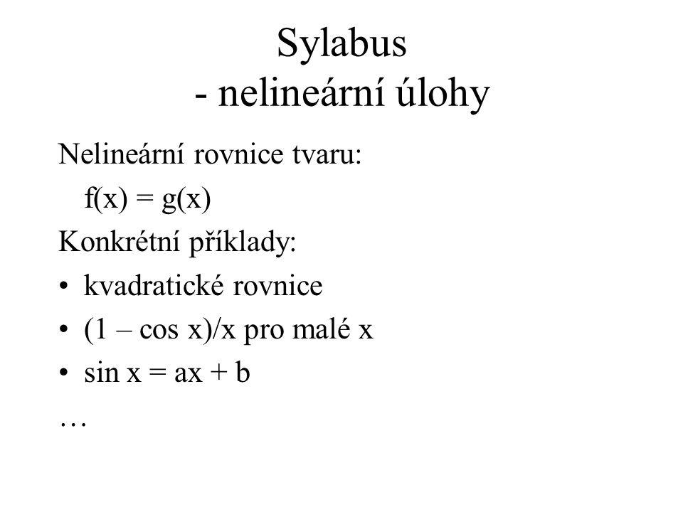 Sylabus - nelineární úlohy