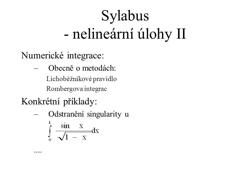 Sylabus - nelineární úlohy II