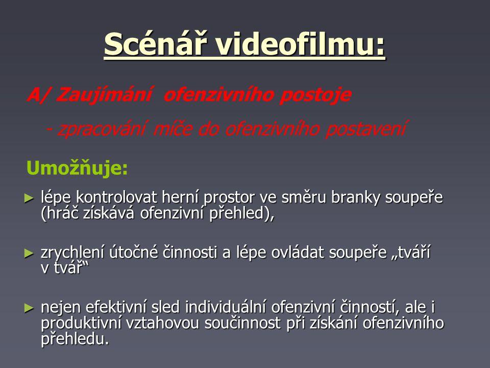 Scénář videofilmu: A/ Zaujímání ofenzivního postoje
