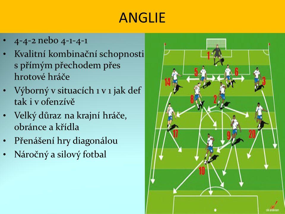 ANGLIE 4-4-2 nebo 4-1-4-1. Kvalitní kombinační schopnosti s přímým přechodem přes hrotové hráče.