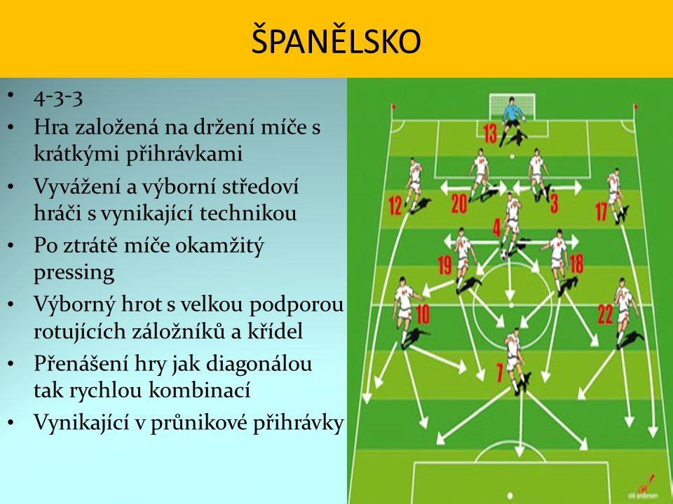 ŠPANĚLSKO 4-3-3 Hra založená na držení míče s krátkými přihrávkami