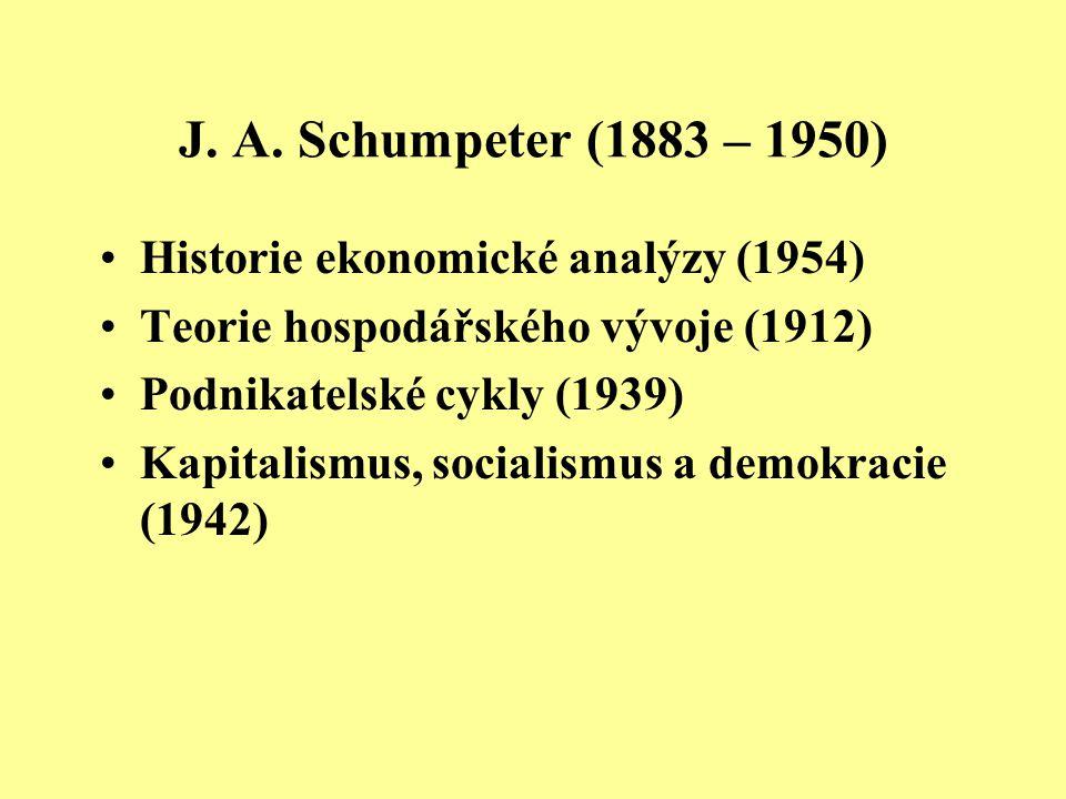 J. A. Schumpeter (1883 – 1950) Historie ekonomické analýzy (1954)