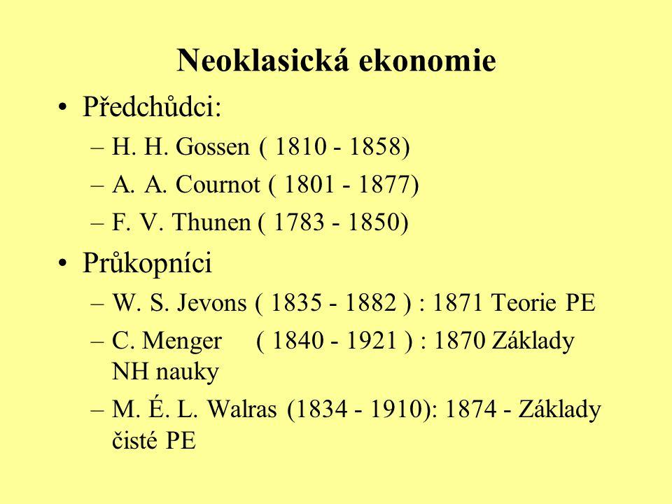 Neoklasická ekonomie Předchůdci: Průkopníci