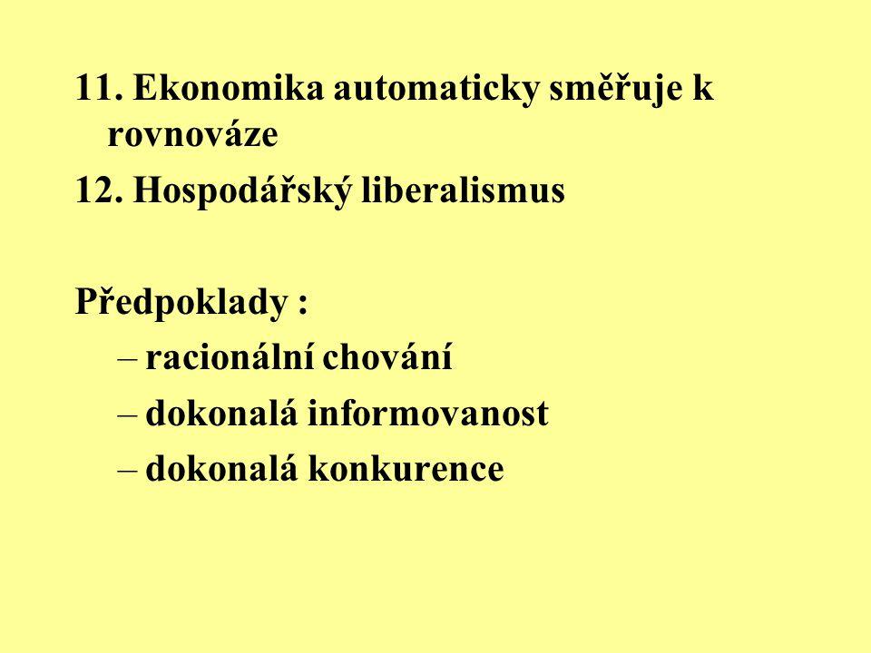 11. Ekonomika automaticky směřuje k rovnováze