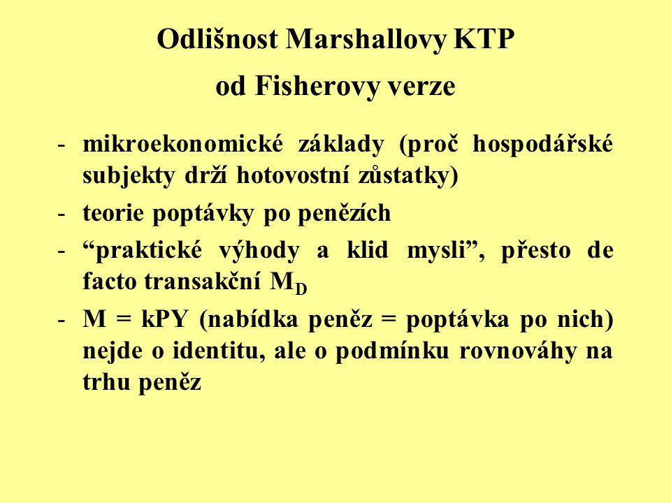 Odlišnost Marshallovy KTP od Fisherovy verze