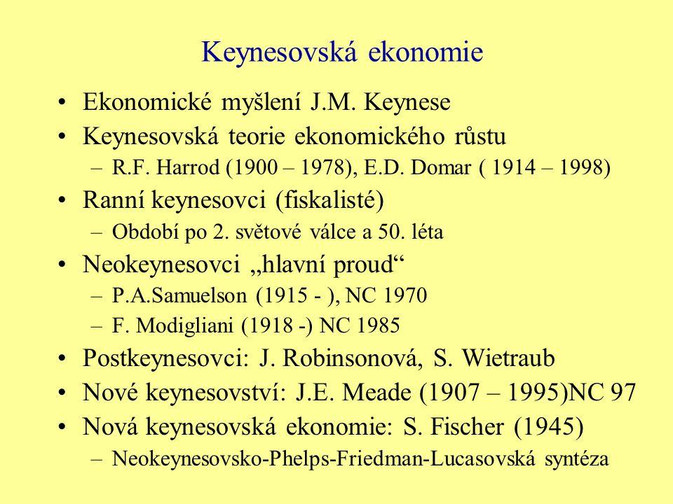 Keynesovská ekonomie Ekonomické myšlení J.M. Keynese