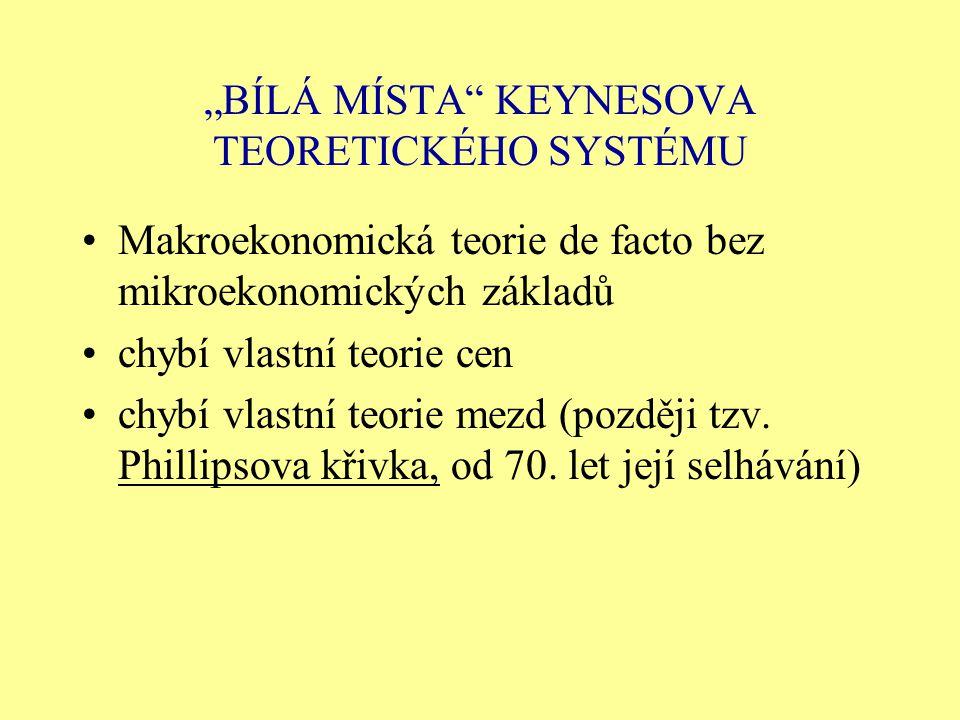 """BÍLÁ MÍSTA KEYNESOVA TEORETICKÉHO SYSTÉMU"