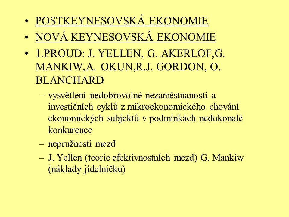 POSTKEYNESOVSKÁ EKONOMIE NOVÁ KEYNESOVSKÁ EKONOMIE