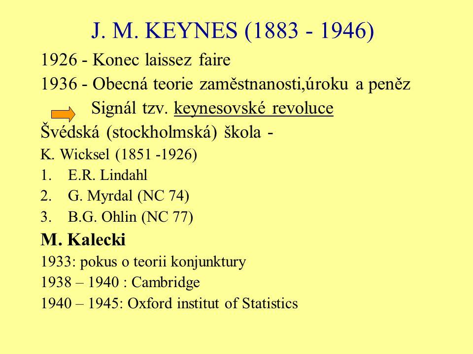 J. M. KEYNES (1883 - 1946) 1926 - Konec laissez faire