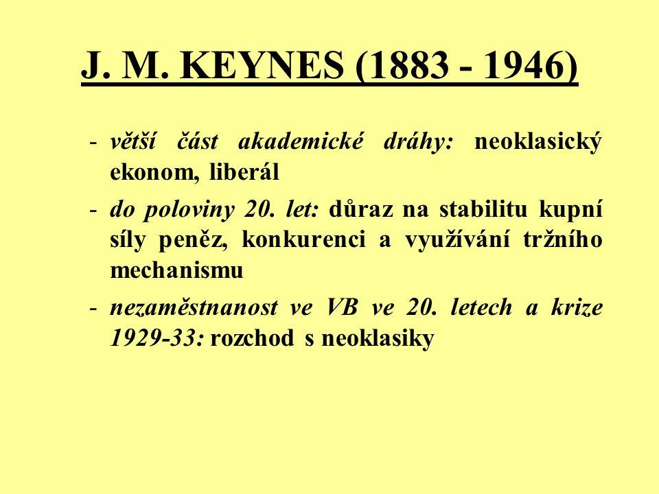 J. M. KEYNES (1883 - 1946) větší část akademické dráhy: neoklasický ekonom, liberál.