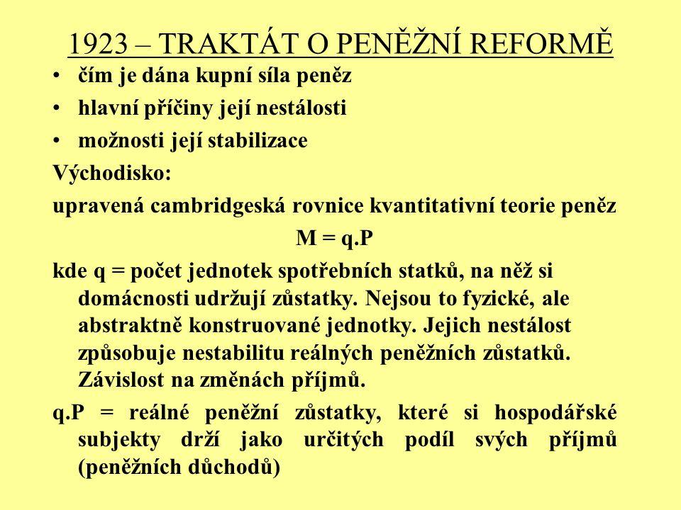 1923 – TRAKTÁT O PENĚŽNÍ REFORMĚ