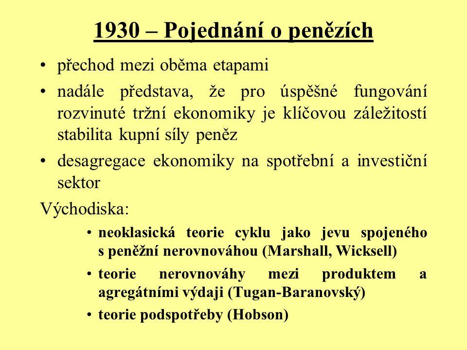 1930 – Pojednání o penězích přechod mezi oběma etapami
