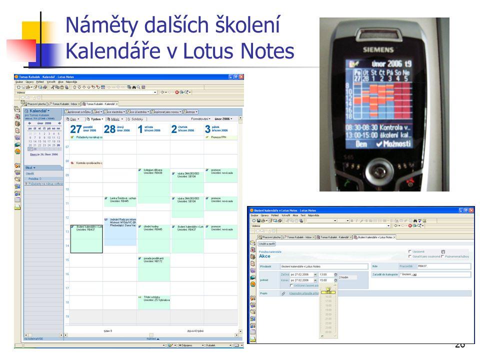 Náměty dalších školení Kalendáře v Lotus Notes