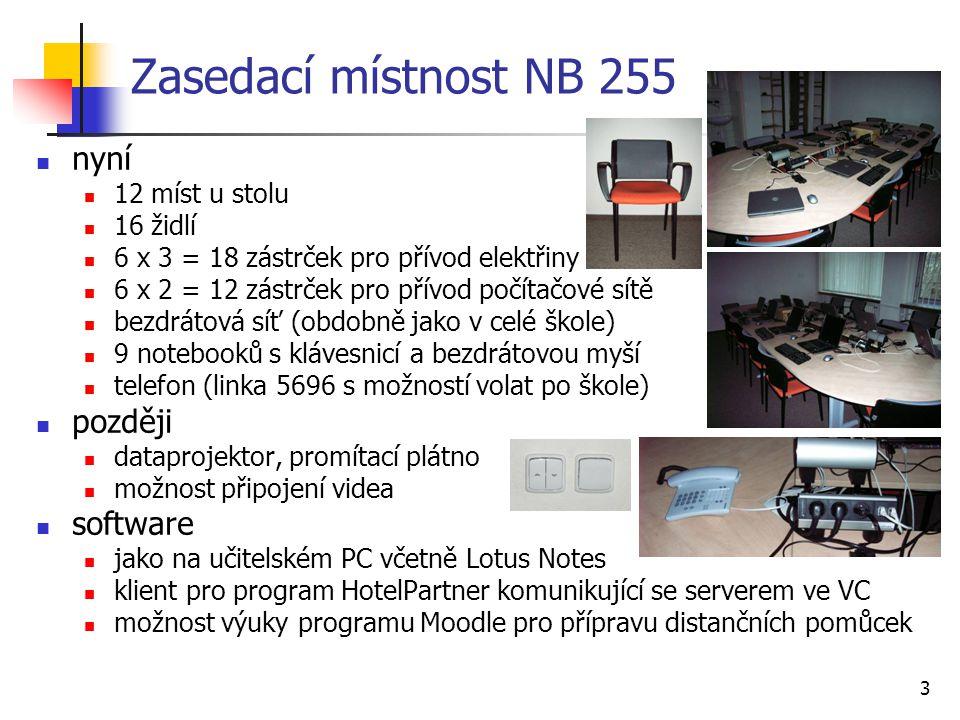 Zasedací místnost NB 255 nyní později software 12 míst u stolu