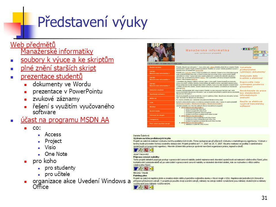 Představení výuky Web předmětů Manažerské informatiky