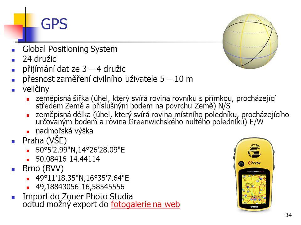 GPS Global Positioning System 24 družic přijímání dat ze 3 – 4 družic