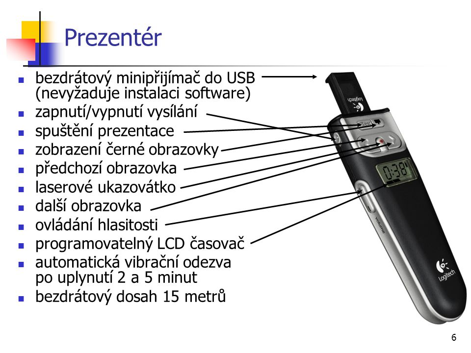 Prezentér bezdrátový minipřijímač do USB (nevyžaduje instalaci software) zapnutí/vypnutí vysílání.