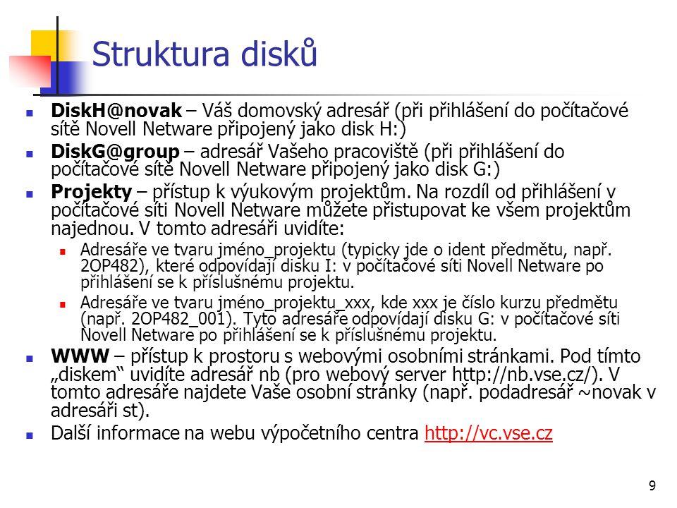 Struktura disků DiskH@novak – Váš domovský adresář (při přihlášení do počítačové sítě Novell Netware připojený jako disk H:)