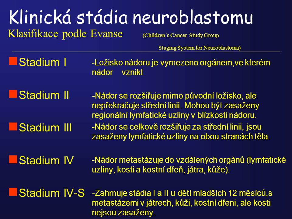 Klinická stádia neuroblastomu Klasifikace podle Evanse (Children´s Cancer Study Group Staging System for Neuroblastoma)