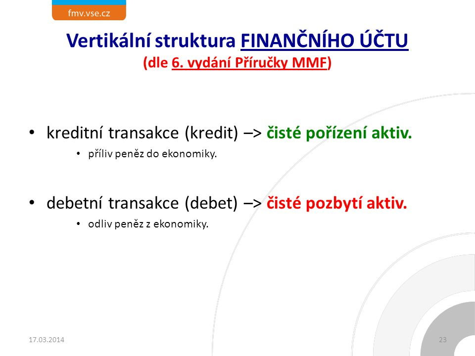 Vertikální struktura FINANČNÍHO ÚČTU (dle 6. vydání Příručky MMF)