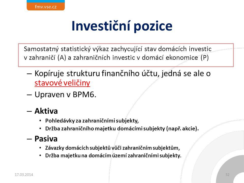 Investiční pozice Samostatný statistický výkaz zachycující stav domácích investic v zahraničí (A) a zahraničních investic v domácí ekonomice (P)