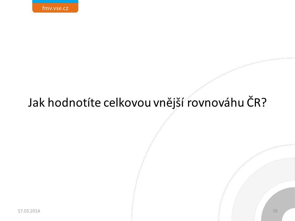 Jak hodnotíte celkovou vnější rovnováhu ČR