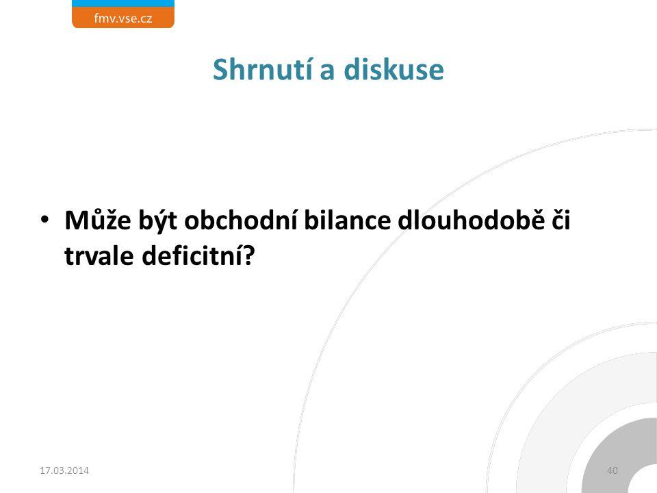 Shrnutí a diskuse Může být obchodní bilance dlouhodobě či trvale deficitní 17.03.2014