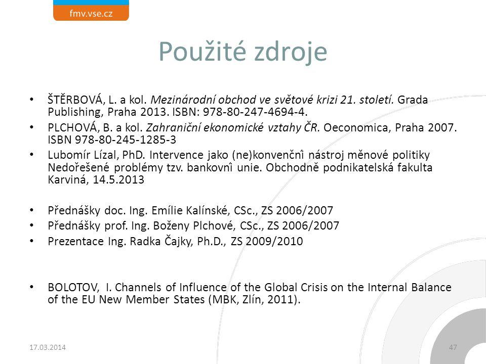 Použité zdroje ŠTĚRBOVÁ, L. a kol. Mezinárodní obchod ve světové krizi 21. století. Grada Publishing, Praha 2013. ISBN: 978-80-247-4694-4.