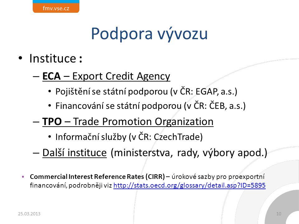 Podpora vývozu Instituce : ECA – Export Credit Agency