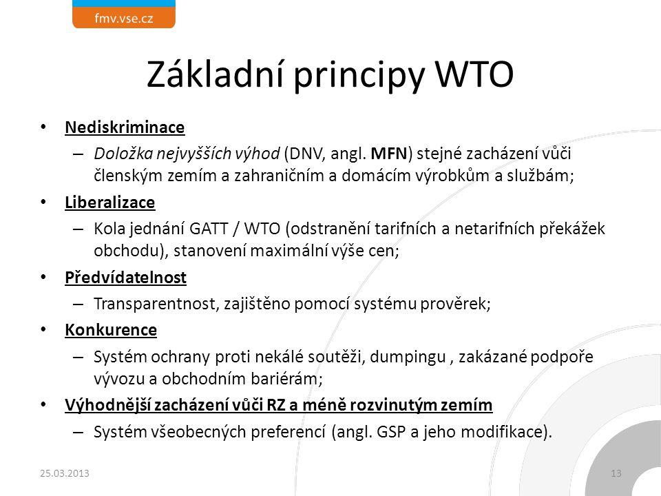 Základní principy WTO Nediskriminace