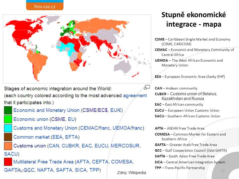 Stupně ekonomické integrace - mapa
