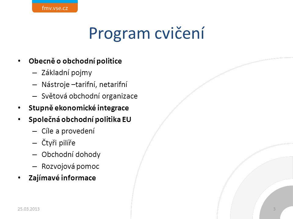 Program cvičení Obecně o obchodní politice Základní pojmy