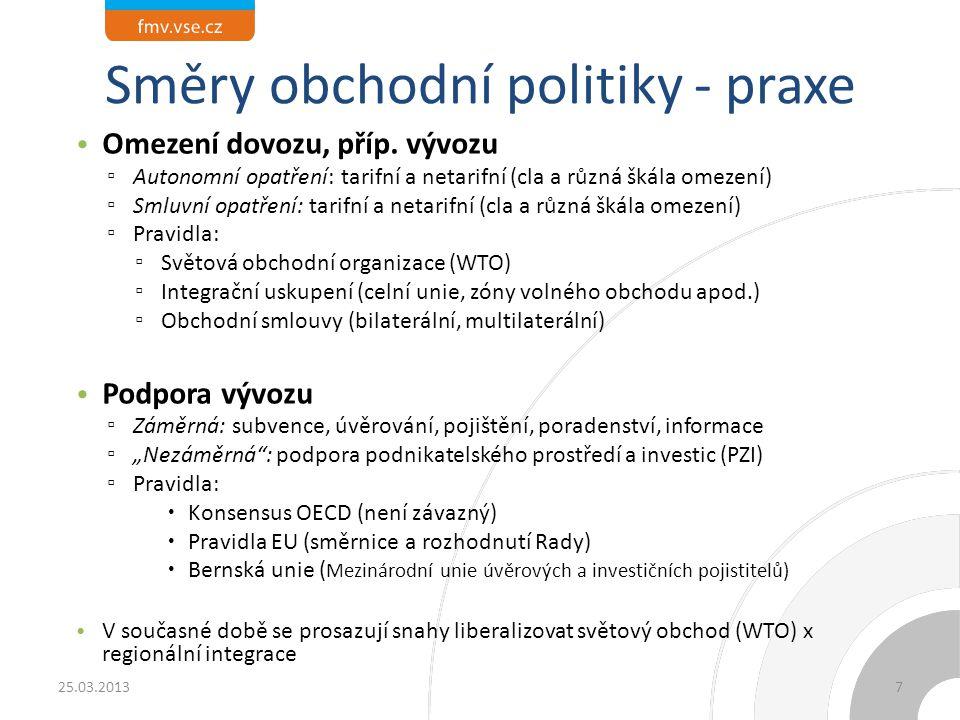 Směry obchodní politiky - praxe