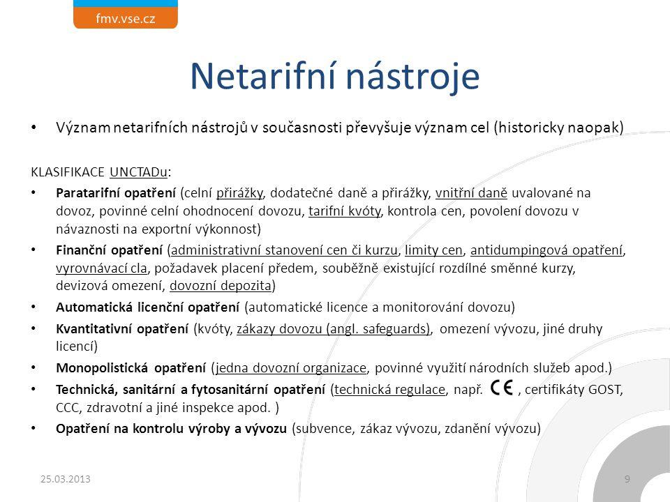 Netarifní nástroje Význam netarifních nástrojů v současnosti převyšuje význam cel (historicky naopak)