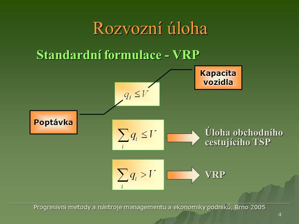 Rozvozní úloha Standardní formulace - VRP