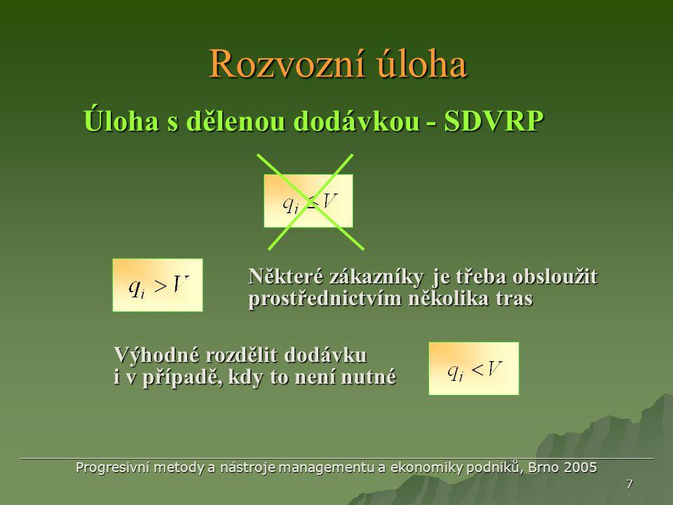 Rozvozní úloha Úloha s dělenou dodávkou - SDVRP