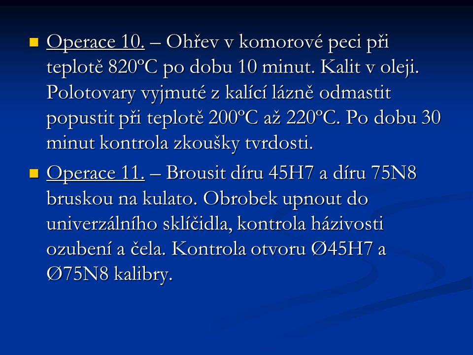 Operace 10. – Ohřev v komorové peci při teplotě 820ºC po dobu 10 minut