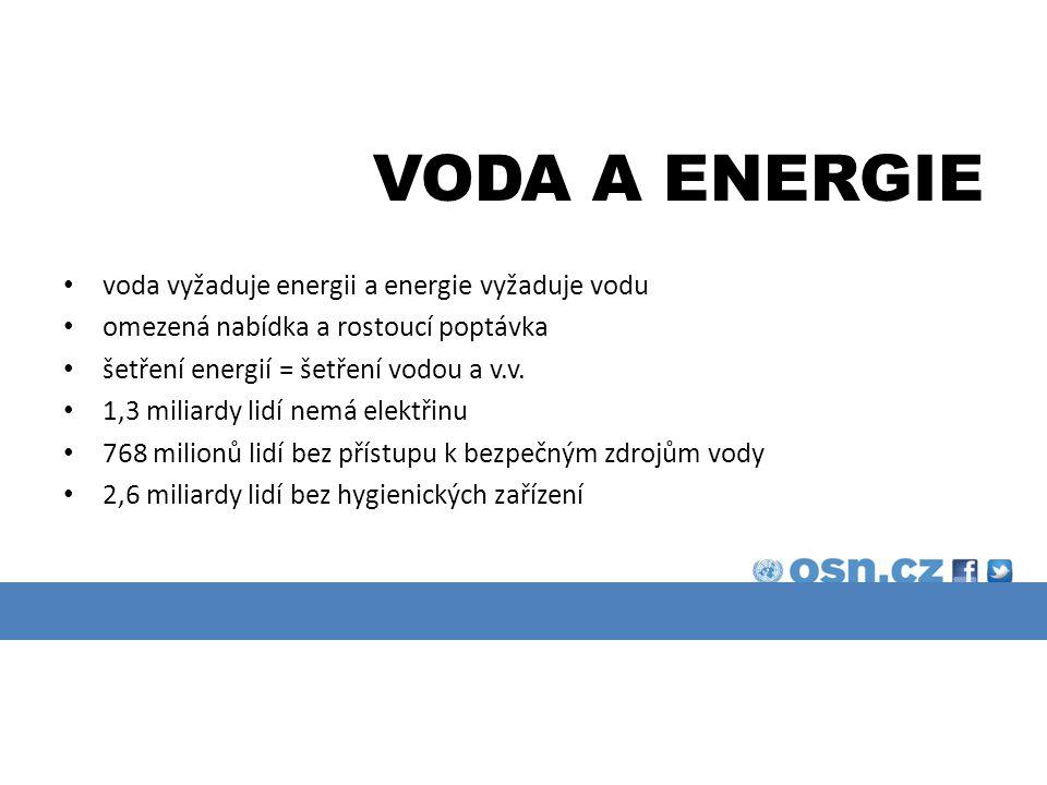VODA A ENERGIE voda vyžaduje energii a energie vyžaduje vodu