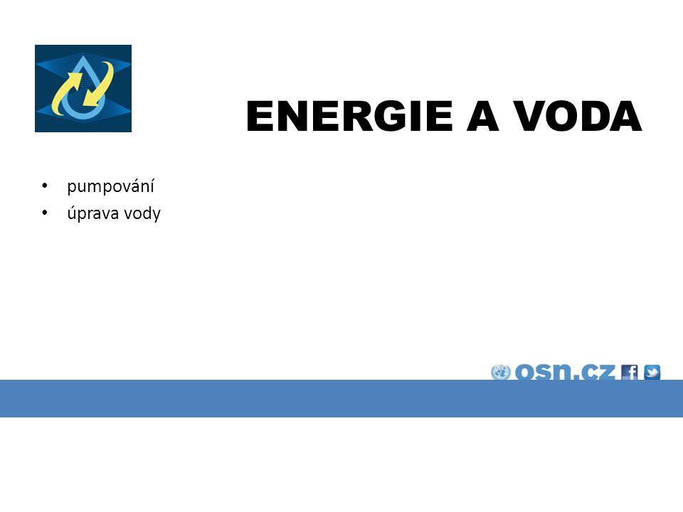 ENERGIE A VODA pumpování úprava vody