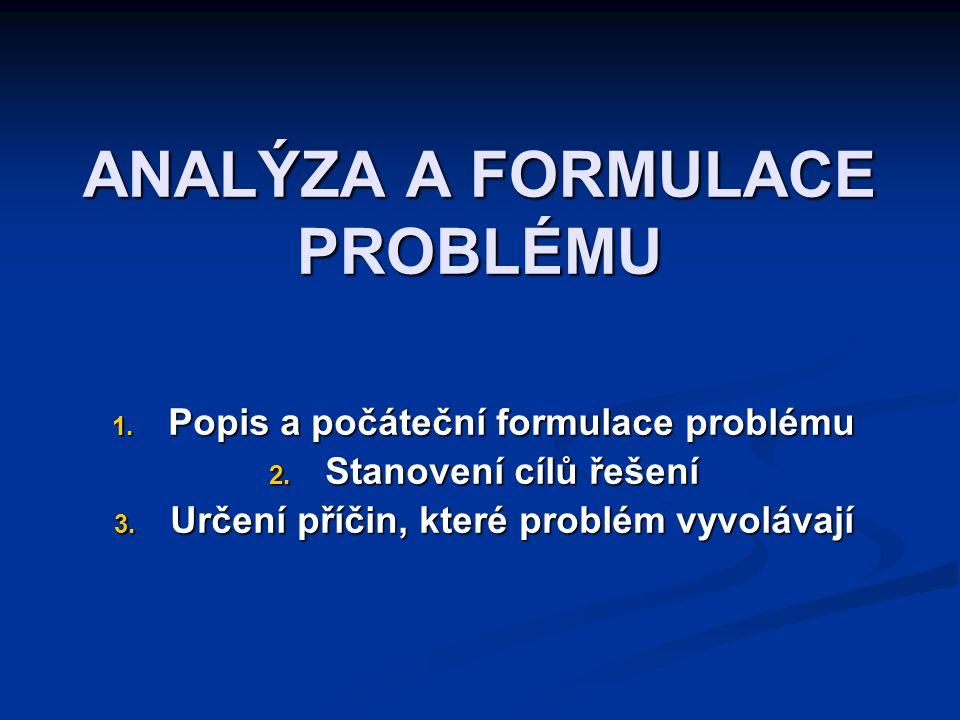 ANALÝZA A FORMULACE PROBLÉMU