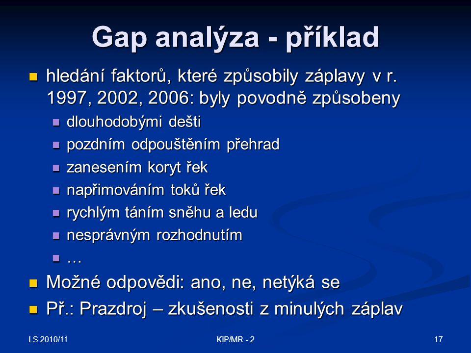 Gap analýza - příklad hledání faktorů, které způsobily záplavy v r. 1997, 2002, 2006: byly povodně způsobeny.