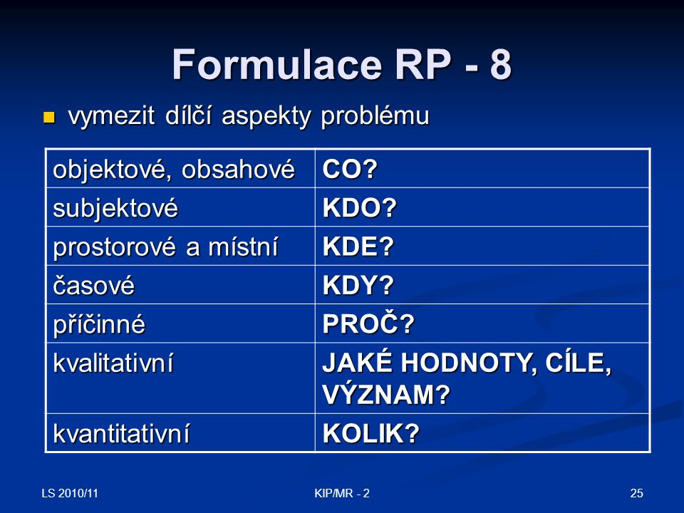 Formulace RP - 8 vymezit dílčí aspekty problému objektové, obsahové
