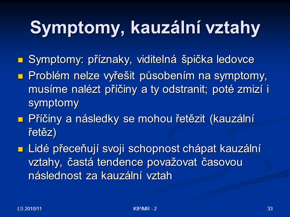 Symptomy, kauzální vztahy
