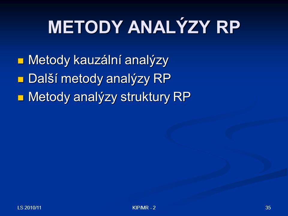 METODY ANALÝZY RP Metody kauzální analýzy Další metody analýzy RP