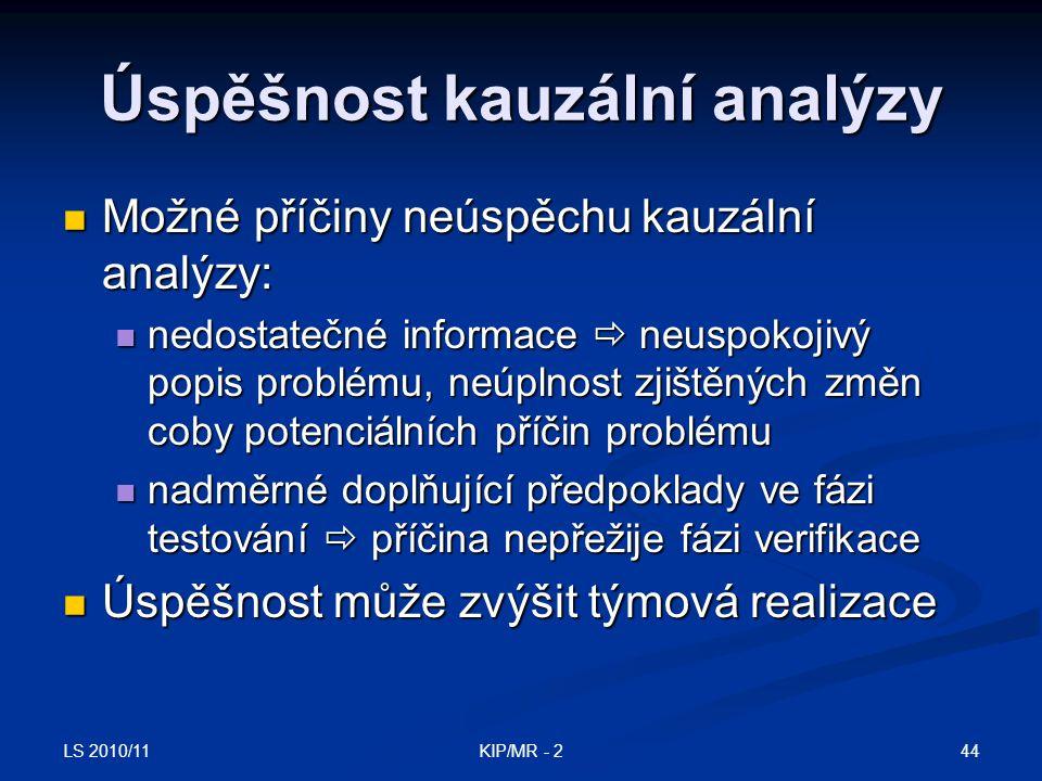 Úspěšnost kauzální analýzy