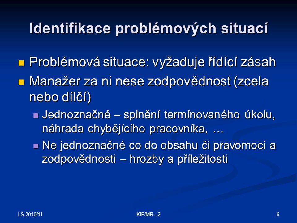 Identifikace problémových situací