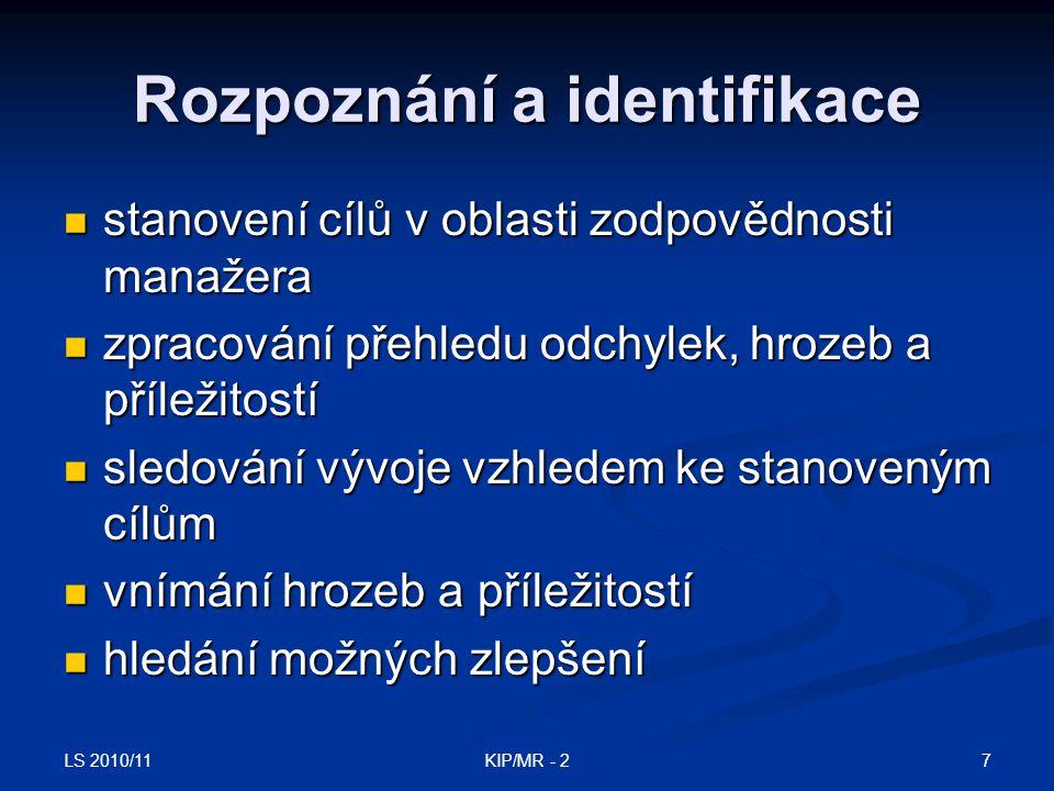 Rozpoznání a identifikace