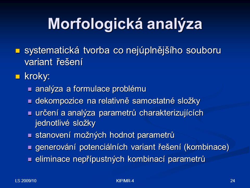 Morfologická analýza systematická tvorba co nejúplnějšího souboru variant řešení. kroky: analýza a formulace problému.