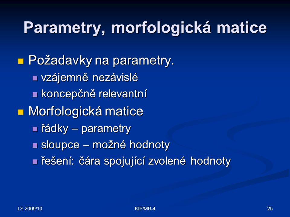 Parametry, morfologická matice